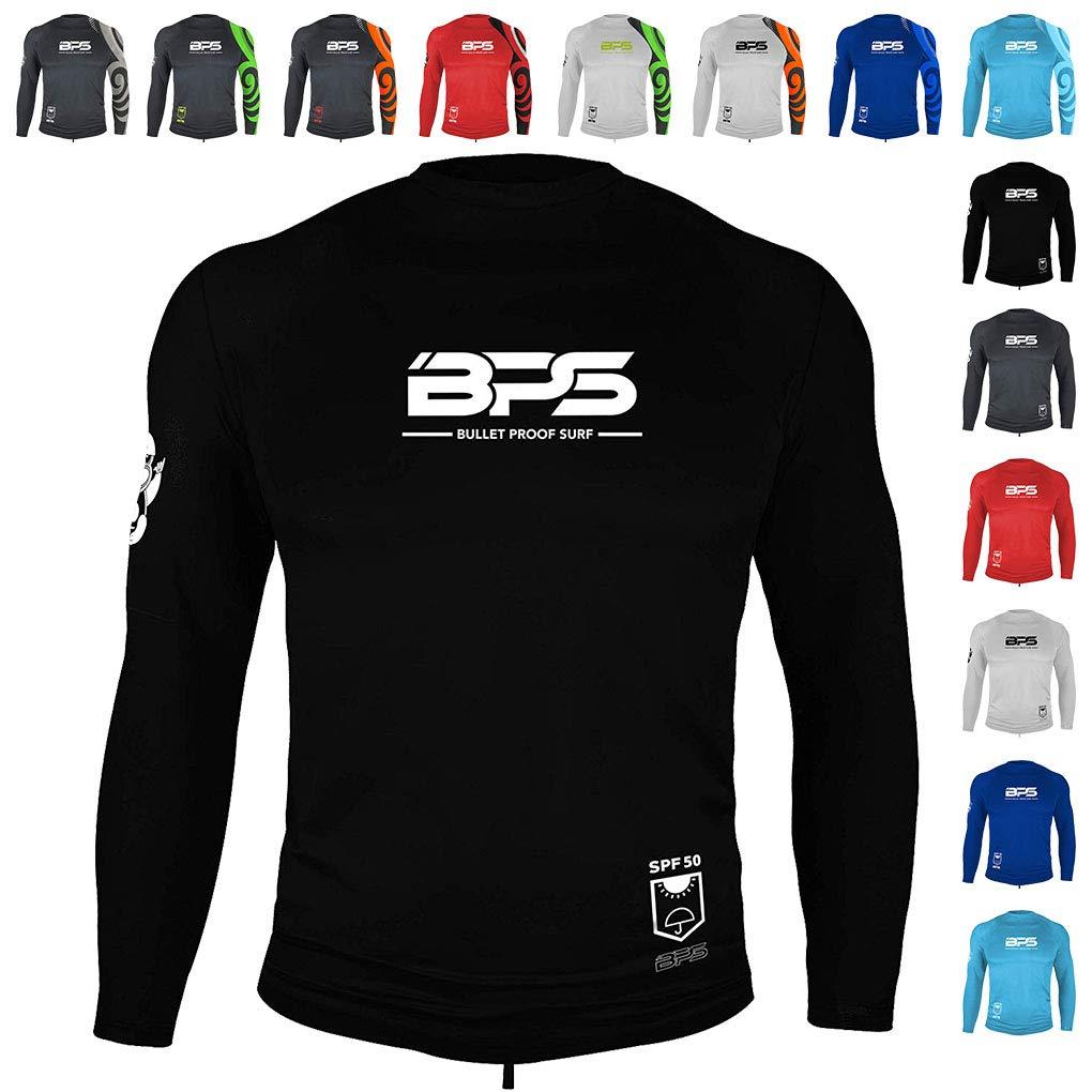 BPS Mens Longsleeve Dry Fit Rash Guard 50+ UV Sun Protection - Black, XXL by BPS