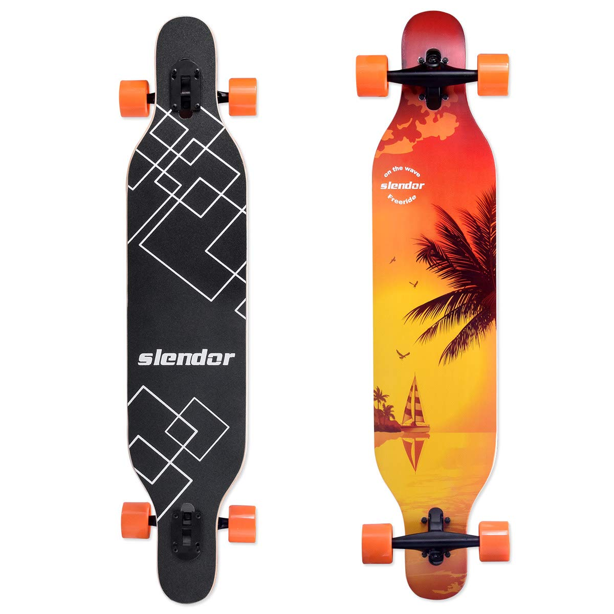 slendor Longboard Skateboards 42 inch Drop Through Deck Complete Maple Cruiser Freestyle, Camber Concave by Slendor