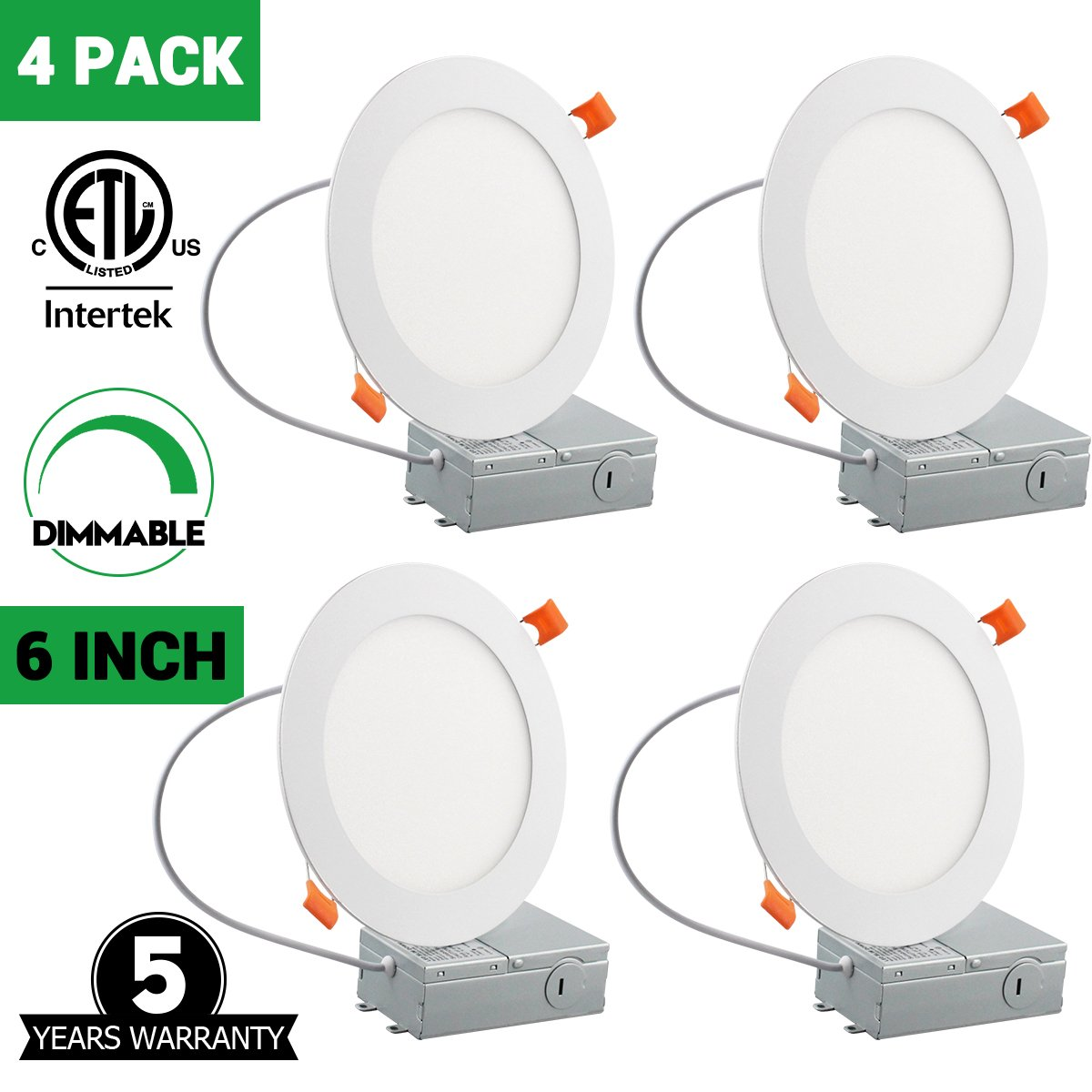 12W 6'' Ultra-thin Recessed Low Profile Slim Panel Light with Junction Box, 100W Equivalent Dimmable Airtight Downlight, 950lm 3000K Warm White, ETL-listed, 4 Pack by TDLOL (Image #1)