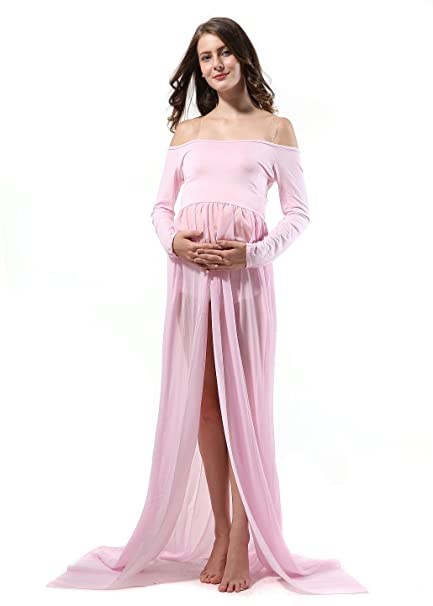 7d6b62f396f15 Pregnant Women Photography Props, Long Sleeve Off Shoulder Chiffon Maternity  Photo Shoot Skirts (Long