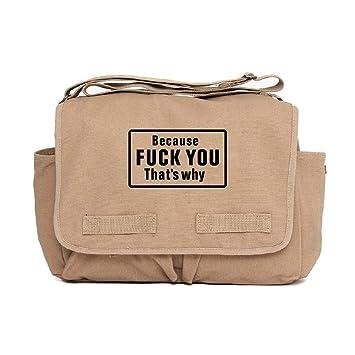 29b22052f0f1 Because F U Thats Why Heavyweight Canvas Messenger Shoulder Bag