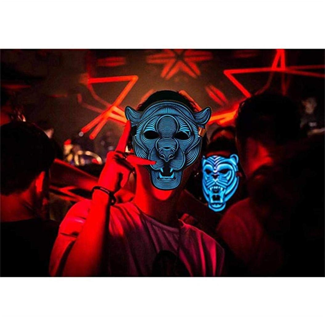 Ecosin Halloween Mask Sound Reactive Full Face LED Light Up Mask Dance Rave Party