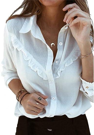 Camisa De Mujer De Manga Larga con Volantes Blusa BotóN PañO Elegante para Mujer Trabajo Casual Llanura OL Blusas: Amazon.es: Ropa y accesorios
