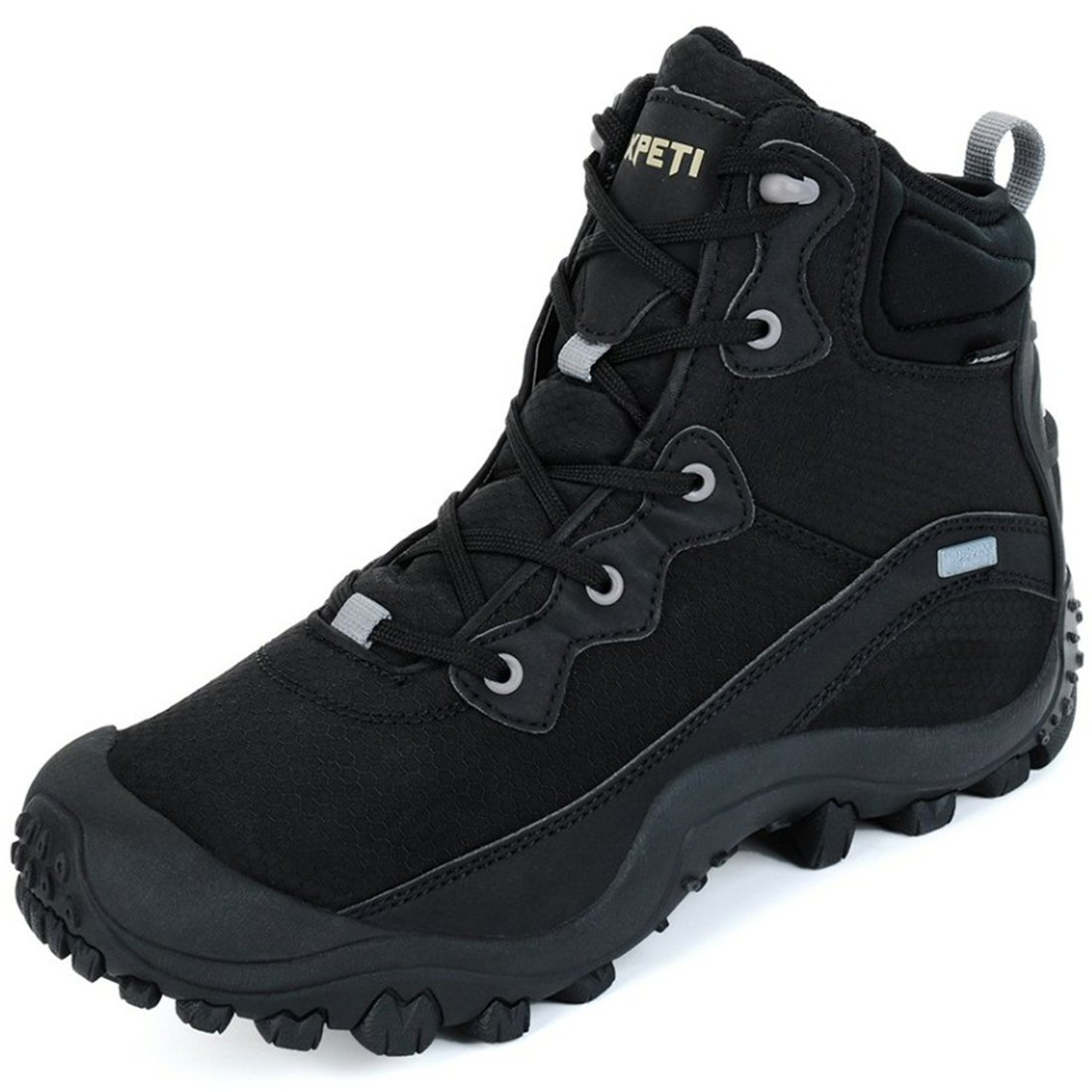 XPETI Men's Waterproof Mid Trail Hiking Outdoor Boot Black 7