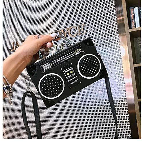 Messenger black Retrò Black Personalità Borse Moda Bag Donna Bag Scatola Creativo Cmddyy Borsa Radio qvR7fn
