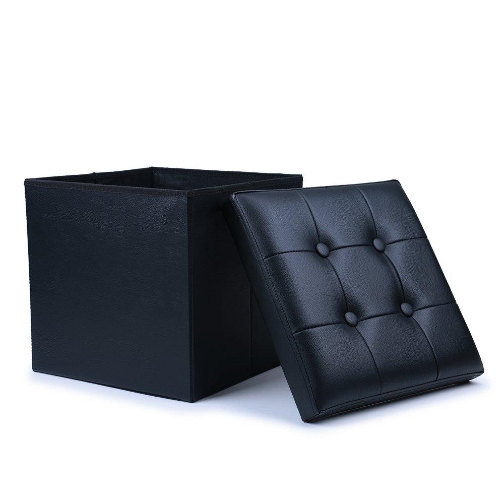 WoneNice Folding Storage Ottoman Cube Foot Rest Stool Seat (Black)