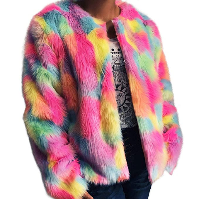 Winter Coat, Shybuy Women Fashion Faux Fur Coat Rainbow Color Winter Outerwear Artificial Fur Jacket