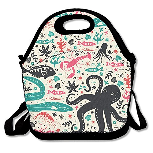 Marine Animal Reusable Insulated Lunch Bag School Picnic Thermal Carrying Gourmet Lunchbox Lunch Tote Container Organizer For Women,Teens,Adults-Lunch Boxes For Outdoors,Work, Office, Schoo