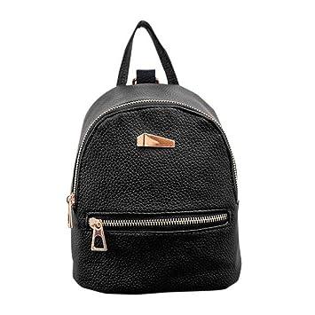 Nueva mochila para mujer Bolso de viaje Mochila Escolar Bolsa de hombro LMMVP (19cm*17cm*12cm, Negro): Amazon.es: Hogar
