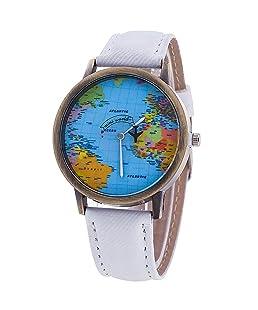 Sanwood Women's World Map Dial Denim Fabric Strap Wrist Watch White