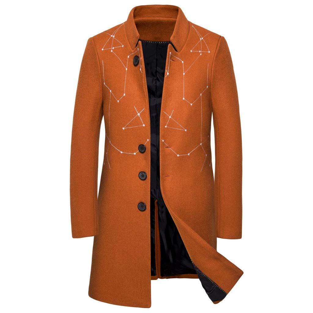 ❣❥HebeTop❥❣ Tops Jacket for Men Overcoat Warm Windbreaker Outwear Slim Long Trench Buttons Coat