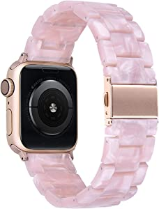 V-MORO Resin Band Compatible with Apple Watch Band 42mm 44mm iWatch Series 6/5/4/3/2/1 with Stainless Steel Buckle Replacement Wristband Strap Women Men(Pearl Pink, 42mm/44mm)