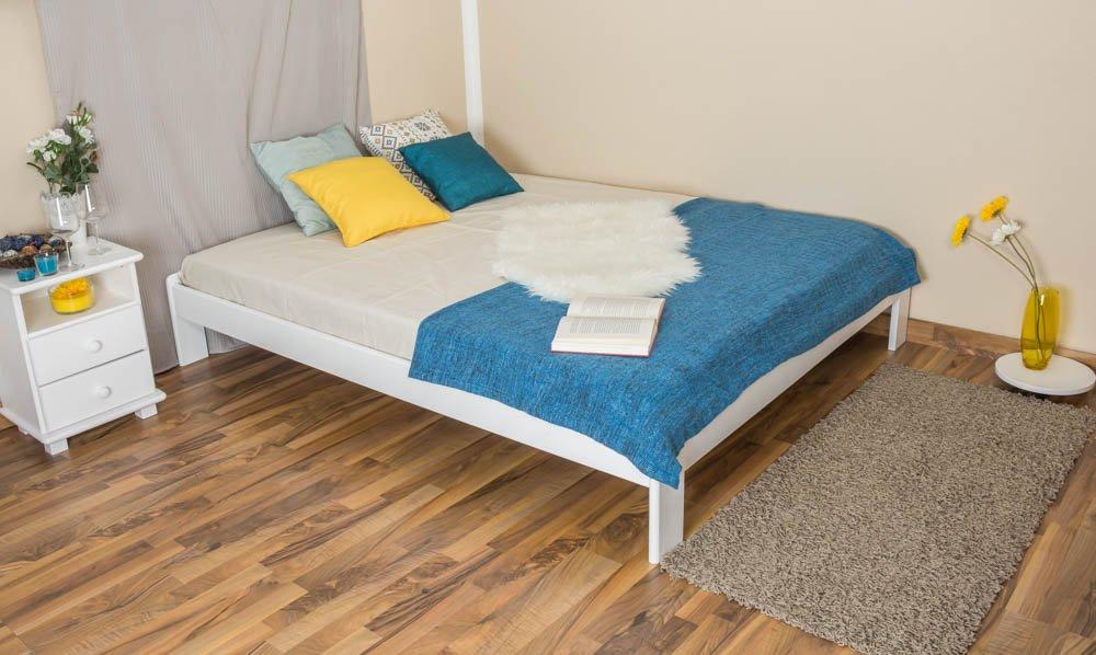 Futonbett   Massivholzbett Kiefer Vollholz massiv weiß lackiert A10, inkl. Lattenrost - Abmessung 160 x 200 cm