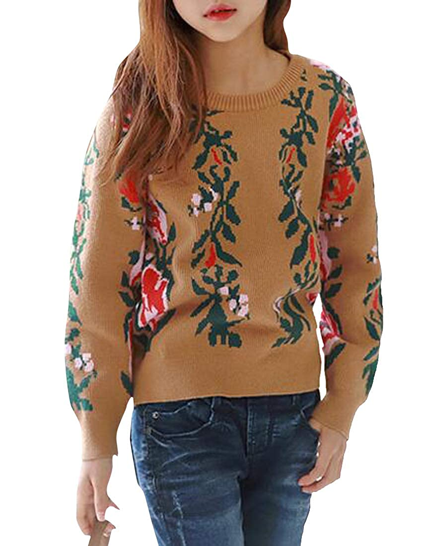 Cromoncent Girl Crewneck Pullover Retro Knitted Flower Sweaters