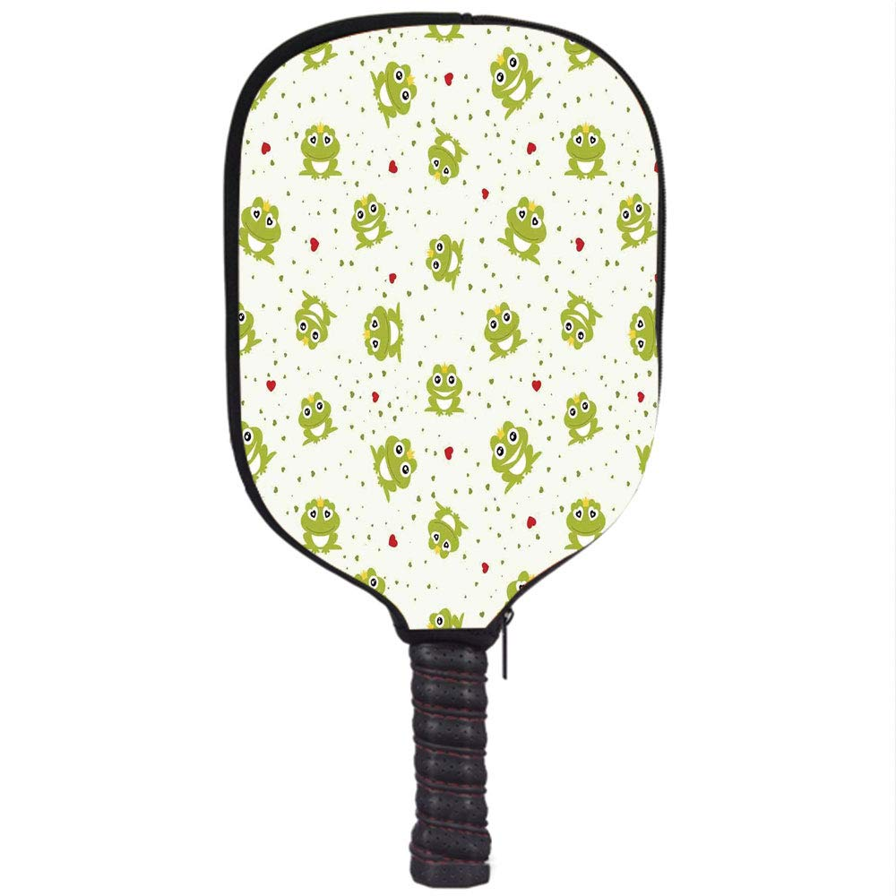Amazon.com : Neoprene Pickleball Paddle Racket Cover Case, Animal Decor, Cute Illustration of Frog Prince on Heart Dotted Retro Background Love Romance ...