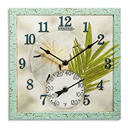 Springfield 12x12 Sand Dollar Poly Resin Clock with Thermometer