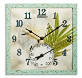 Springfield 12''x12'' Sand Dollar Poly Resin Clock with Thermometer