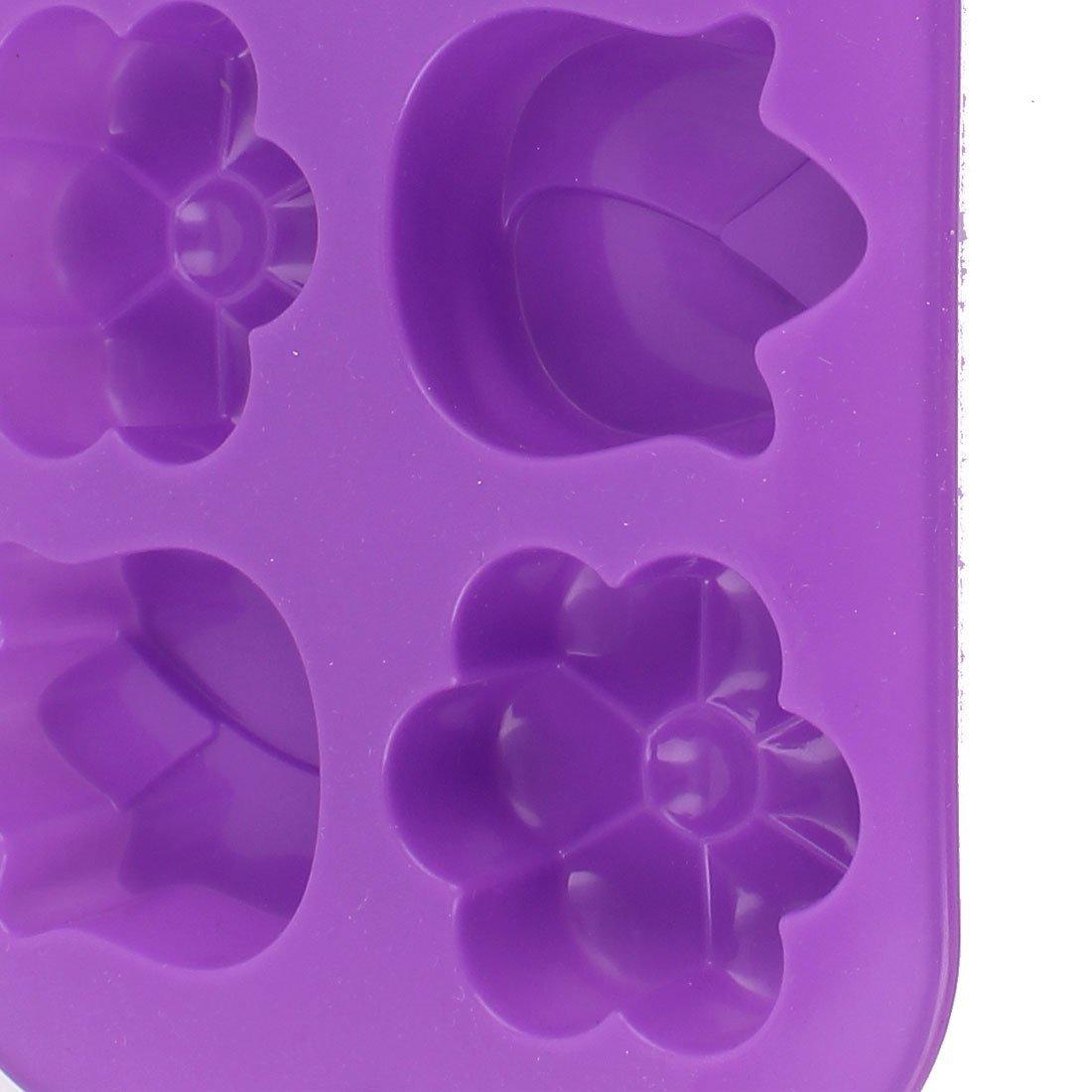 Compra Silicona 6 Cavidad flores en forma de bricolaje molde de pastel panificadora púrpura en Amazon.es