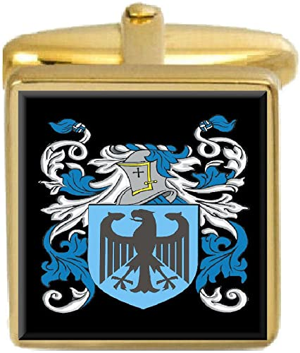 Select Gifts Stalker England Family Crest Surname Coat Of Arms Gold Cufflinks Engraved Box
