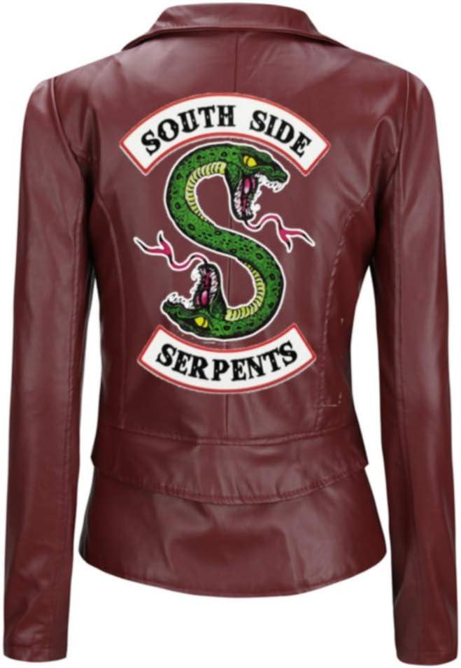 Riverdale Jacket Girls red Serpents Jacket Biker Gang Southside Black Leather Jacket-2