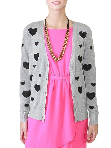 Amazon.com: De la Mujer Gris Amora Hipster chaqueta de punto ...