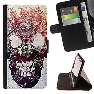 - Skull Devil Pattern Sugar Skull Skulls/ Personalizada del estilo del dise???¡Ào de la PU Caso de encargo del cuero del tir????n del soporte d - Cao - For Samsung Galaxy S5 V SM-G900