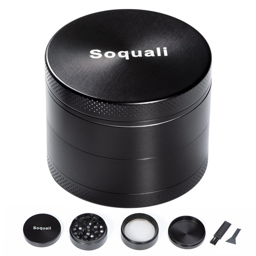 Weed Grinder, Herb Grinder, Grinder for Weed with Keef Catcher, Metal Tobacco Spice Grinder 4 Piece, Super Smooth Easily Get Fine Pollen, 2'' (50mm) - Black 2'' (50mm) - Black Soquali SQ-K02-B
