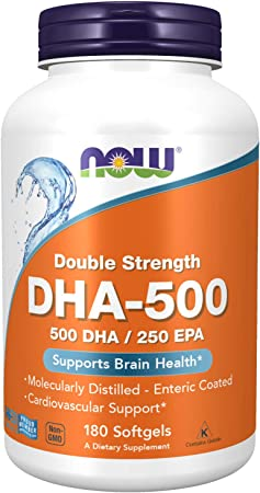 NOW Supplements, DHA-500 with 250 EPA, Molecularly Distilled, Supports Brain Health*, 180 Softgels