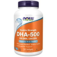 NOW Supplements, DHA-500 with 250 EPA, Molecularly Distilled, Supports Brain Health...