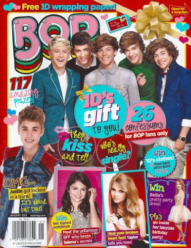 One Direction, Taylor Swift, Selena Gomez, Justin Bieber, 1D Christmas Gift Wrapping Paper, 6 GIANT POSTERS - January, 2013 Bop Magazine