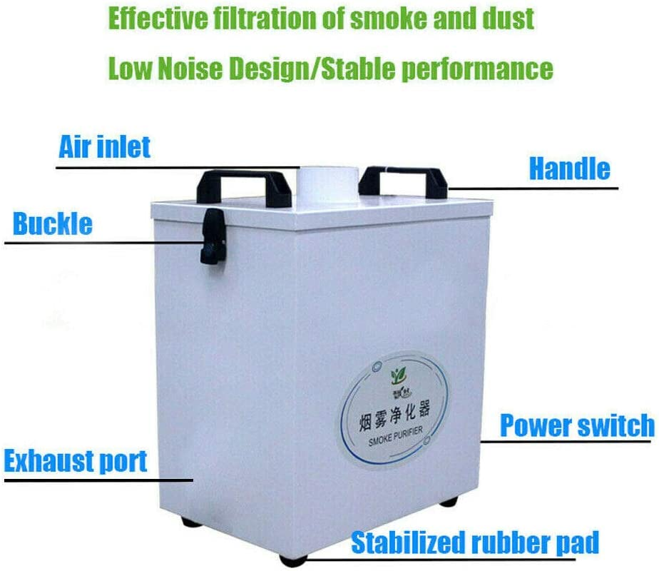 Extractor de humos de aire puro purificador de humo, múltiples filtros, motor sin escobillas DC de cuatro etapas de filtración para grabador de CO2 CNC 180 m3/h 80 W 110 V (US