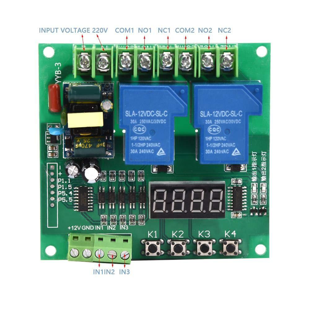 pompe AC 110V ~ 250V Scheda di controllo inversa del motore avanti Due rel/è di temporizzazione del ciclo Modulo di temporizzazione per elettrovalvola a 2 vie Scheda di controllo del motore