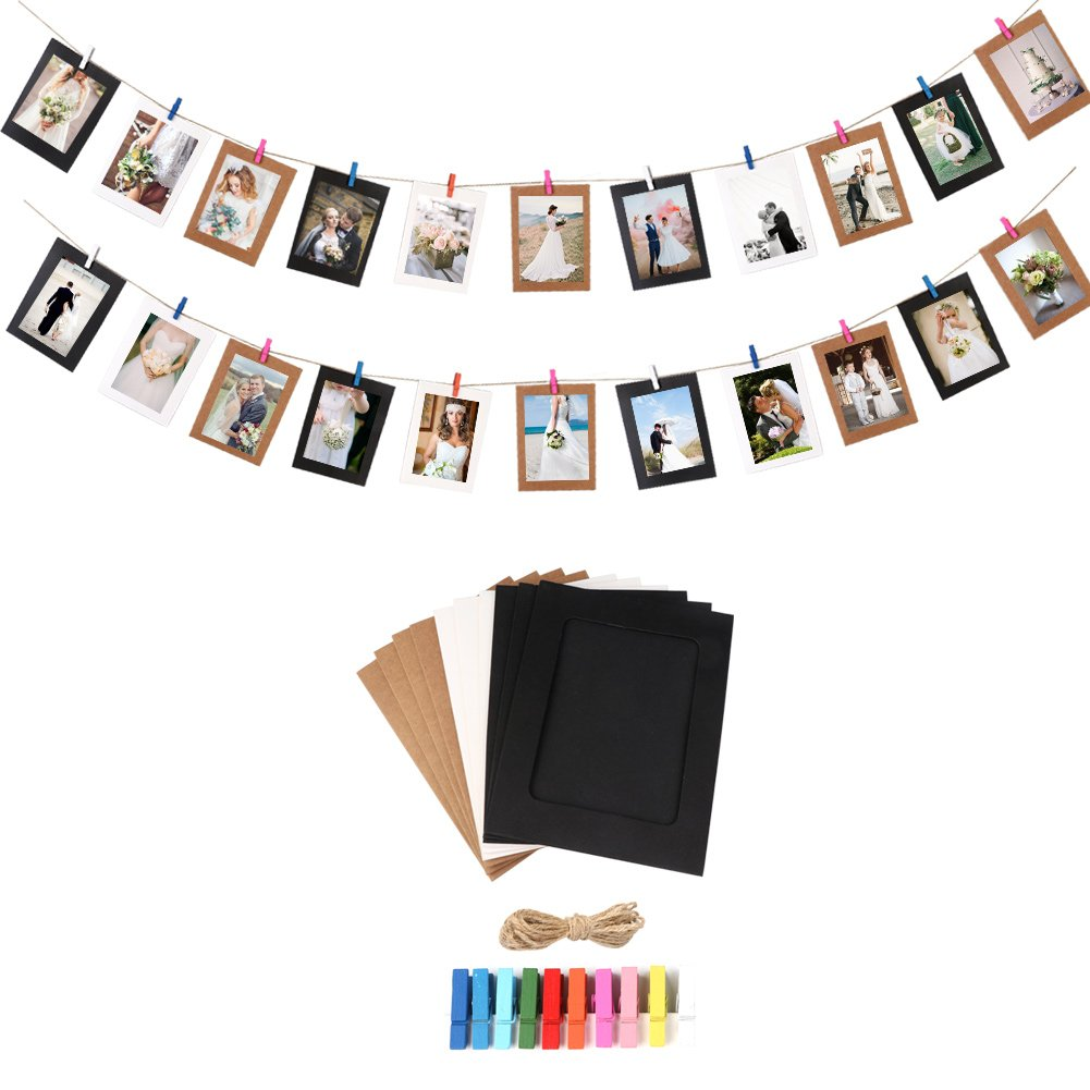 AerWo 20Pcs DIY Kraft Paper Photo Frame Creative Wall Decor Hanging with Wooden Clips and Rope Hanging Picture Frames for Baby Shower and Home Decorations