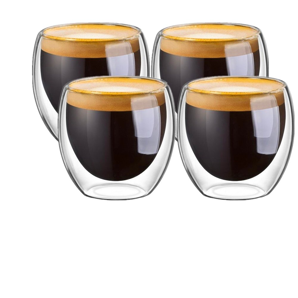 JinKen Espresso Cups, Cafe Latte Cups, Cappuccino Cups, Tea cups and Dessert Cups. 80 Milliliter/2. 7 Ounce Double Walled Espresso Glasses, Set of 4