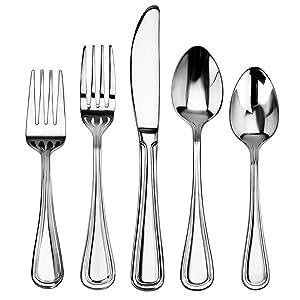 New Star Foodservice 58871 Slimline Pattern, 18/0 Stainless Steel, 60-Piece Flatware Set