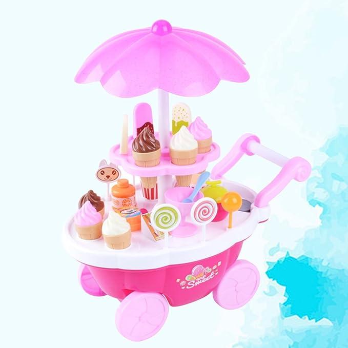 STOBOK Helado Caramelo Carrito de Juguete Los niños juegan Comida Juego fingido para niños (Rosa): Amazon.es: Juguetes y juegos