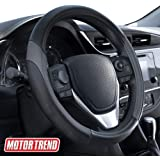 Motor Trend SW-814 Sport Drive Perforated Leather Steering Wheel Cover with Contrast Stitching - Universal Fit for…
