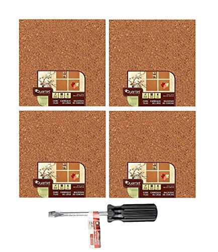 """Quartet Cork Tiles, 12"""" x 12"""", Corkboard, Mini Wall Bulletin Boards, Natural (16 Pack + Plextool)"""