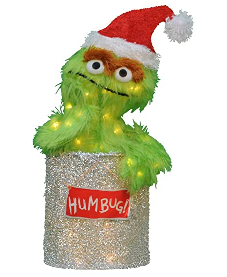Productworks 31465538 Pre Lit Soft Faux Fur Sesame Street Oscar The Grouch Christmas Yard Art Decoration With Clear Lights 18