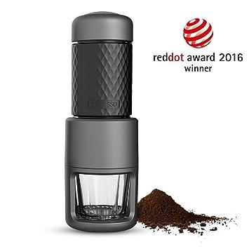 [Reddot award] STARESSO SP-200 Cafetera Italiana Express Manual de Viaje Máquina de Café Capuchino Portátil con Copa de Cristal Color Negro