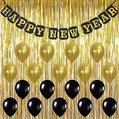 KatchOn Happy New Year Banner Decorations - Pack of 20, Sturdy | Gold Foil Fringe Curtain and Latex Balloons | Great for New Years Eve Party Backdrop Decorations Supplies | Home Office Décor