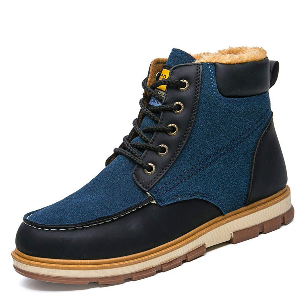 Taromheus Mens Winter Pu Leather Ankle Boots Winter Waterproof Snow Boots Leisure Martin Winter Boots Shoes