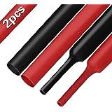 XHF 2 Pcs 3/4 Inch (19mm) 3:1 Waterproof Heat Shrink Tubing Marine Grade Adhesive Lined Heat Shrink Tube, Insulation Sealing Oil-Proof 4 Ft Black&Red