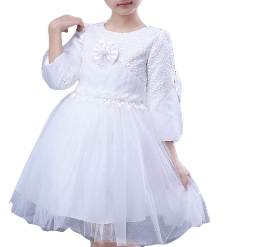 YUNY Girls Long Sleeve Holiday Wedding Net Yarn Princess Dresses 1 110cm