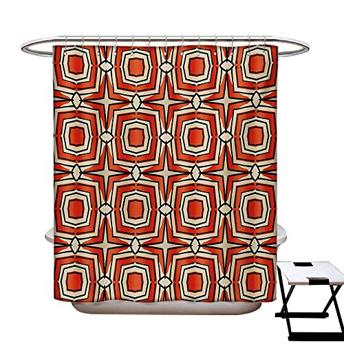 Geometric Shower Curtain Customized Squares and Rhombuses with Bullseye Pattern Abstract Warm Colored Shapes Bathroom Accessories W72 x L84 Burnt Sienna Beige (Bullseye Mushroom)