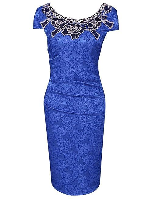 Mujeres Vestido Encaje Bodycon Corto Manga Larga Casual Slim Falda Para Fiesta Azul S