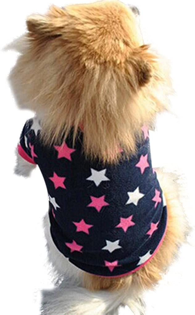 Howstar Pet Clothes Puppy Star Print Shirts Doggie Apparels Soft Warm Costume