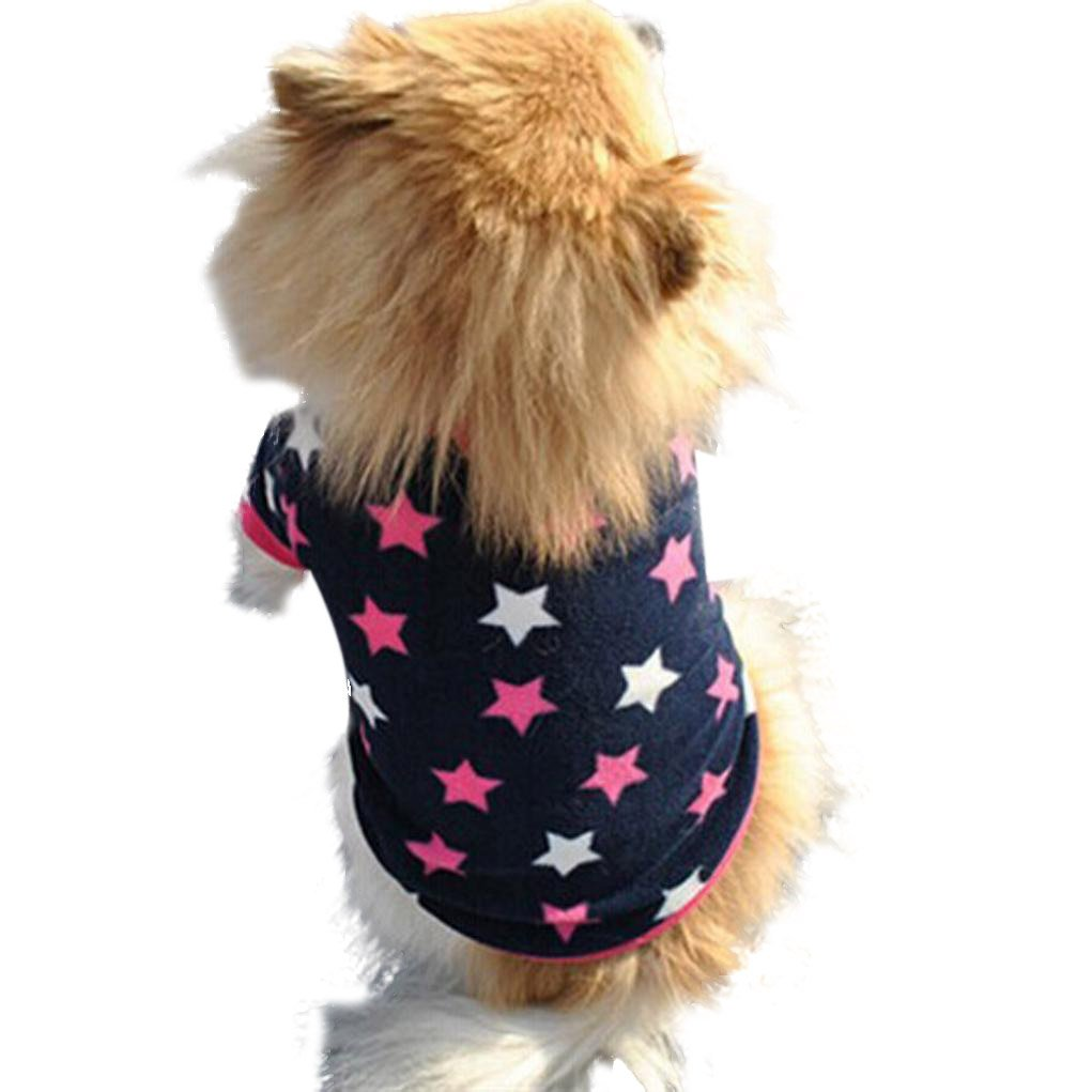 Howstar Pet Clothes, Puppy Star Print Shirts Doggie Apparels Soft Warm Costume (Blue, M)