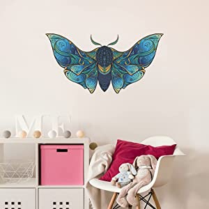 MEFOSS Creative Blue Moth Wall Decals Big Moth with Large Wings Wall Stickers Removeable Peel and Stick Room Wall Decal Art Murals for Kids Room Bedroom Playroom Office Home Decor (Blue Moth)