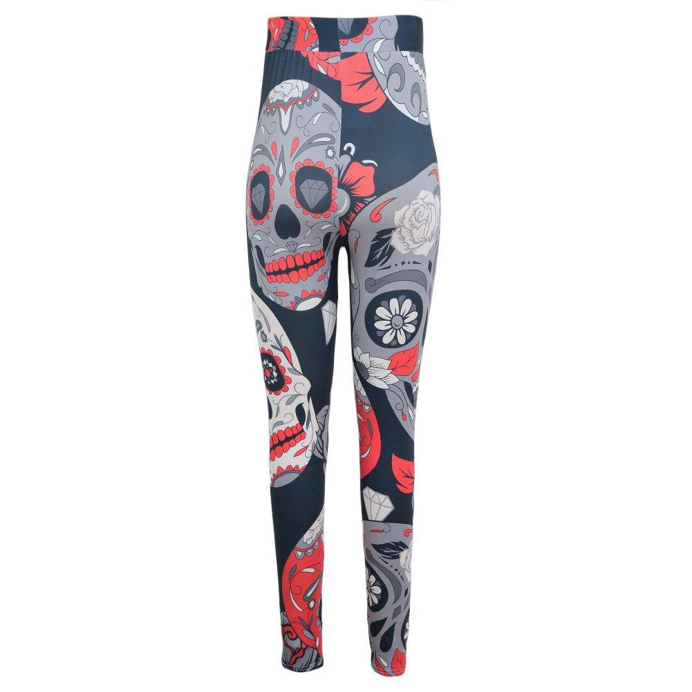 Romacci Yoga Sports Leggings Skull Head Print High Waist Slim Fitness Pants